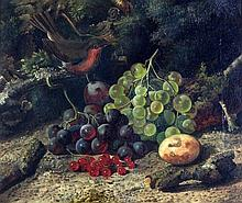 William Duffield (1816-1863) Still lifes of blue tits, grapes, redcurrants and a robin, 11.5 x 13.5in.