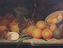 Mid 19th century English School Still lifes of fruits on ledges, 12 x 16in.