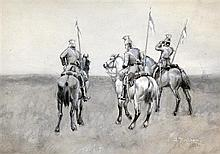 Arthur Rackham (1867-1939) Lancers on horseback, 6.5 x 9.75in.