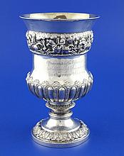 A 19th century Indian silver presentation pedestal trophy vase, with military related inscription,
