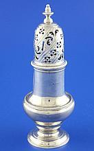 A George III silver baluster sugar caster, 6.5 oz.