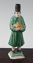 A Chinese spinach green and ochre glazed pottery figure of a standing official, Ming dynasty, 18.3cm