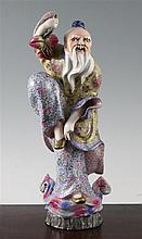 A good Chinese famille rose enamelled porcelain figure of Shou Lao, Republic period,