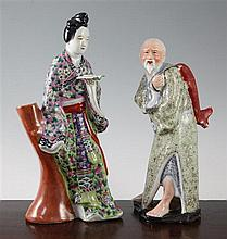 Two Chinese enamelled porcelain figures, early 20th century, 30.3cm, chip to base