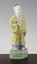 A Chinese enamelled porcelain figure of Shou Lao, 18th/19th century, height 22cm