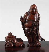 Two Chinese boxwood figures of Budai, 19th century, 7cm, standing figure with slight losses