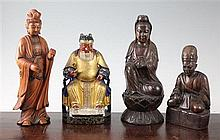Four Chinese wood figures, 19th/20th century, 20.5cm