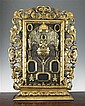 A 19th century Florentine carved giltwood and gesso reliquary, 29.5 x 24in.