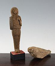 Two Egyptian carved wood figures, possibly from Antiquity, 8.2in.