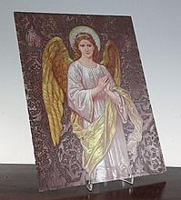 A Victorian stained glass panel of an archangel, in pre-Raphaelite style, 14.5in x 11.5in.