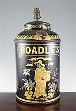 A 19th century chinoiserie Toleware 'Boadles' tea canister, 18.5in.