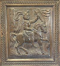 A 19th century carved oak panel, 24.5 x 22in.