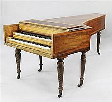 An early 19th century mahogany and satinwood banded double harpsichord, by John Broadwood, L.7ft 11in.