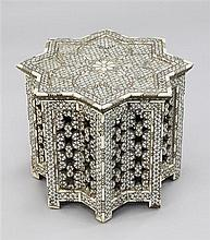 An Islamic mother of pearl and bone inlaid low occasional table, W.1ft 6.5in.