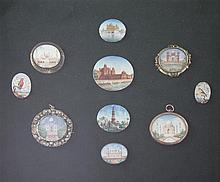 A collection of ten Indian oval painted miniatures, overall 17 x 14in.