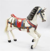 A carved and painted carousel horse, attributed to the Philadelphia Toboggan Company, 3ft 8in.