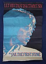 A psychedelic red and green lithographed poster of Mick Jagger, 'Let Him That is Without Sin Jail the First Stone', 27.5 x 18in., some