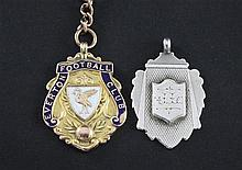 An Edwardian 15ct Everton Football Club medallion & a silver medallion