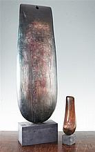 Peter Hayes (20th C.). A tall bronze effect ceramic sculpture,