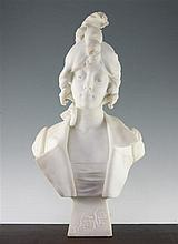 E.F. Jacques (French, late 19th / early 20th century). A large Carrara marble bust, 'Sweetness', 23cm