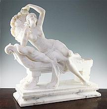 Cipriano Cipriani (Italian, fl.1880-1925), A large Carrera marble sculpture, 'Rosette' - 'The Fan Dancer', Length 72cm, height 66cm