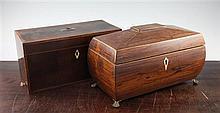 An Irish George III mahogany rectangular tea caddy & another caddy