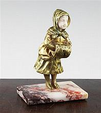 Georges Omerth (French, fl.1895-1925). A gilt bronze cold painted and ivory figure of a young girl, overall 6in.