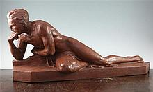 A French Art Deco terracotta figure of a male nude thinking, 30.5in.