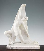 A French Art Deco carved marble figure of a female dancer, 21in.