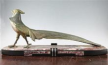 A large French Art Deco patinated model of a pheasant, 34in.