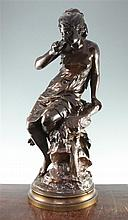 Mathurin Moreau (French, 1822-1912). A large patinated bronze, 'La Source', 29.25in.