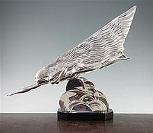 Maurice Guiraud-Riviere (French, b.1881). An Art Deco silvered bronze 'The Comet', 20in.