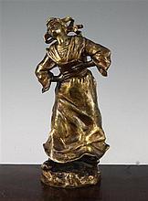 Susanne Bizard (1873-1963). A gilt bronze figure of a laughing Dutch girl, 12in.