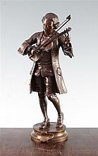 Adrien Etienne Gaudez (1845-1902). A patinated bronze study of young Mozart standing tuning his violin, 13.25in.