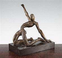 Ben Enwonwu (Nigerian, 1917-1994). A 20th century bronze figure of a male nude, 10.75in.