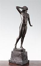Otto Schmidt Hofer (1873-1925). A patinated bronze figure of a standing nude woman, 15.5in.