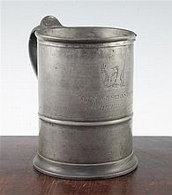 Crimean War Interest: A large 19th century pewter tankard, 6.5in.