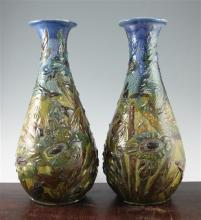 A pair of large C. H. Brannam pottery baluster vases, c.1902, 46.5cm