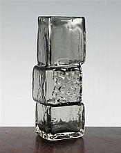 A Whitefriars pewter glass drunken bricklayer vase, designed by Geoffrey Baxter, 21.5cm