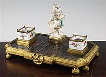 A Continental ormolu and porcelain mounted ink stand, 18th century and later, 32cm wide