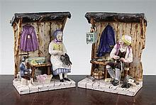 A pair of French faience groups of a cobbler and seamstress beneath canopies, 19th century, 23.5cm, one restored