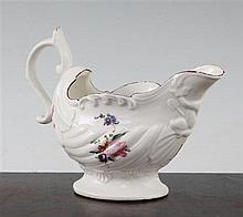 A Derby shell moulded sauceboat, c.1768, 12cm