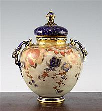 A large fine Royal Crown Derby vase and cover, c.1903, 24cm