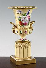 An English porcelain pedestal urn, c.1830, 25cm