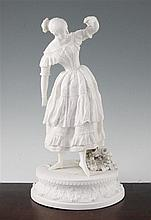 A Samuel Alcock biscuit porcelain figure of the ballerina Fanny Elssler, c.1837, 37cm, contained under a glass dome