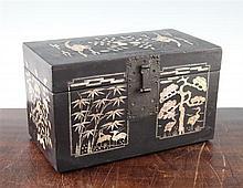 A Korean black lacquer and abalone inlaid rectangular box, 19th century, 30.5cm