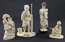 Three Japanese ivory okimono and a Chinese ivory figure, early 20th century, 8.5 - 18cm
