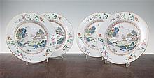 A set of four Chinese famille rose 'landscape' plates, Qianlong period, 23.5cm