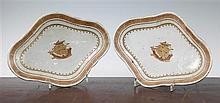 A pair of Chinese export enamelled porcelain lozenge shaped dishes, 19th century, made for the American market, 26.5cm