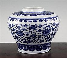 A Chinese blue and white Ming style baluster vase, late 19th/early 20th century, 16cm, some damage